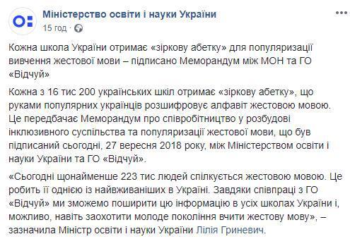 """В Україні створили """"зіркову"""" абетку мови жестів"""