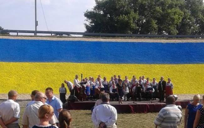 Рекорд: вБорисполе выложили наибольший каменный флаг государства Украины