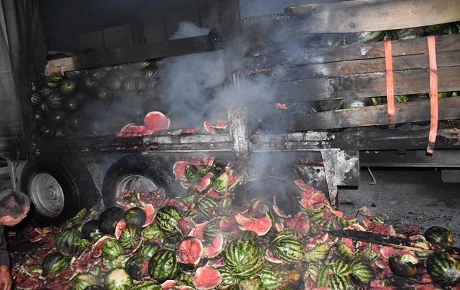Пожар вХерсонской области тушили арбузами